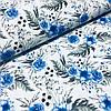 Ткань польская хлопковая, синие цветы с серыми листьями на белом