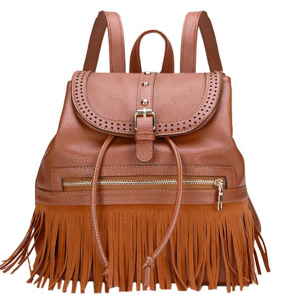 Рюкзак женский кожзам с бахромой Cowboys Backpacks Светло коричневый