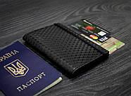 """Обкладинка для паспорта з шкіри 2.0 """"Графіт"""" карбон, фото 5"""