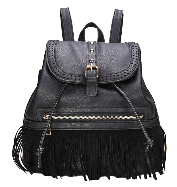 Рюкзак женский кожзам с бахромой Cowboys Backpacks Черный