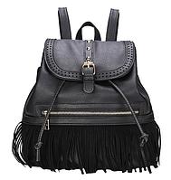 Рюкзак женский кожзам с бахромой Cowboys Backpacks Черный, фото 1