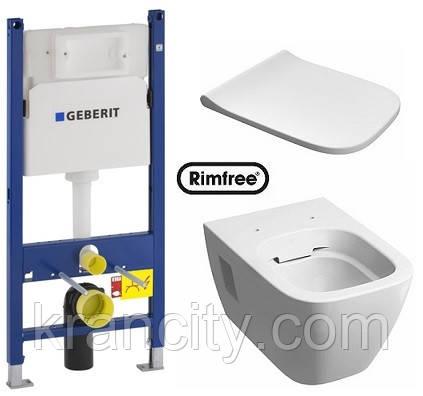 Комплект: MODO Rimfree (Безободовый) унитаз подвесной, Geberit Duofix 3в1, сидение Duroplast soft-close
