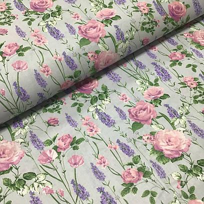 Ткань польская хлопковая, цветы полевые на сером