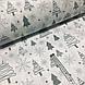 Ткань новогодняя хлопковая, серые елочки и снежинки на белом, фото 2