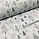 Ткань новогодняя хлопковая, серые елочки и снежинки на белом, фото 3