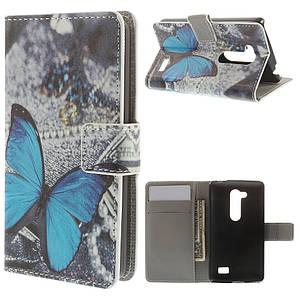 Чехол книжка для LG L Fino Dual D295 боковой с отсеком для визиток, голубая бабочка
