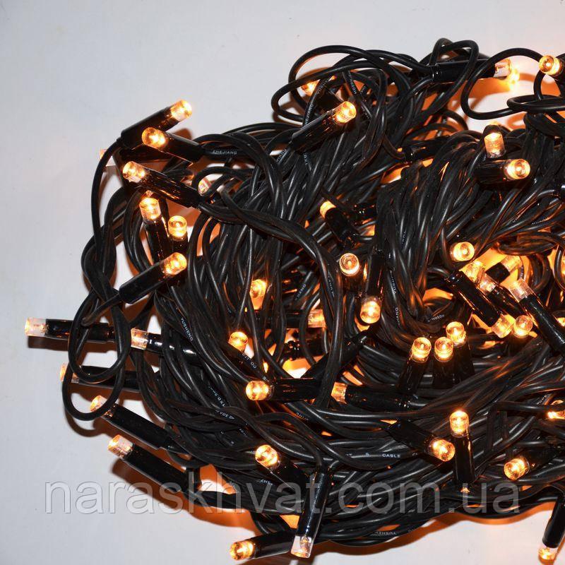 Гирлянда уличная Нить LED 200, жёлтая, чёрный провод