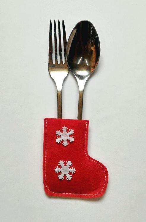 Сапожок новогодний для столовых приборов красный