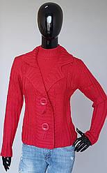 Женская шерстяная кофта обманка с воротником стойка