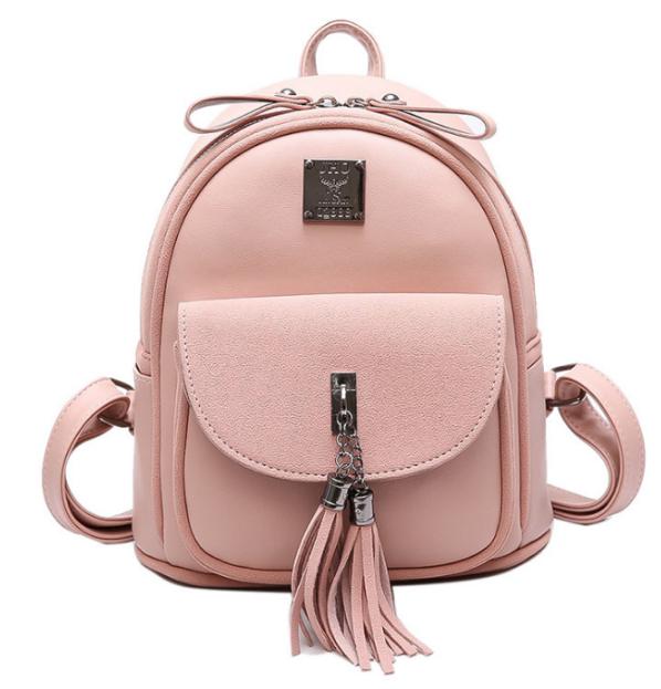 Рюкзак женский кожзам Rivets с кисточкой Розовый