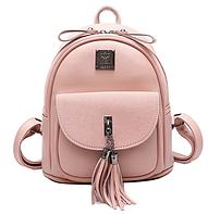 Рюкзак женский кожзам Rivets с кисточкой Розовый, фото 1