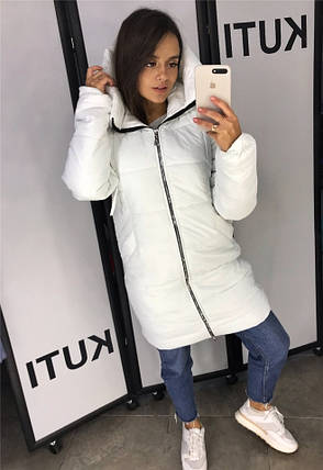 Тёплое женское пальто плащевка, синтепон 250 Молоко. (9 цветов) Р-ры 46-54. (130)7260., фото 2