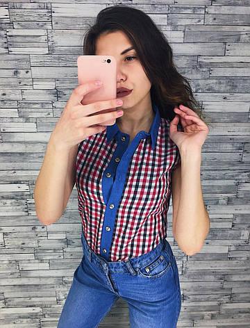 Женская рубашка хлопковая в клетку без рукавов, фото 2