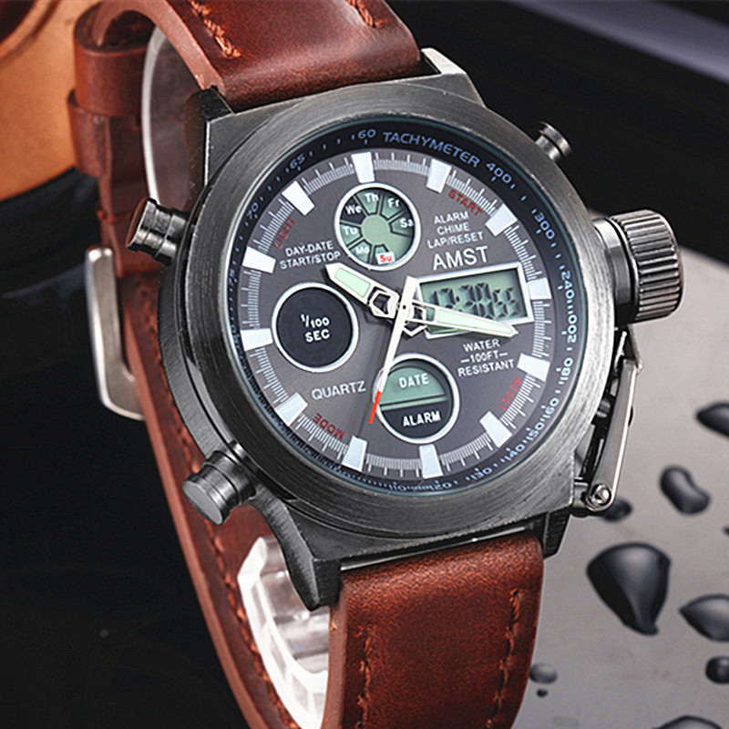 Мужские военные часы AMST am3003 с чёрным циферблатом ( код: IBW091K )