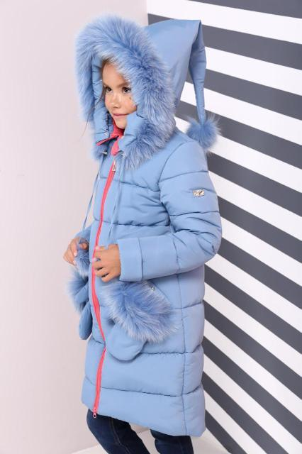 Голубой зимний пуховик Мелитта с меховой опушкой песца