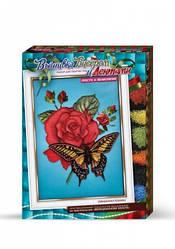 Вышивка лентами и бисером, Картина Бабочка на розе