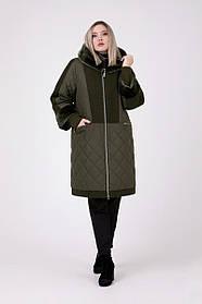 Женское зимнее комбинированное пальто с искусственным мутоном / размер 54-68 / цвет хаки