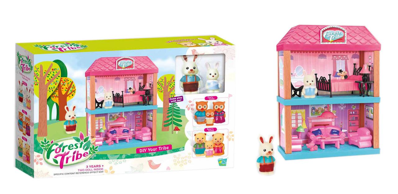 Набор игрушечная двухэтажная комната с животными