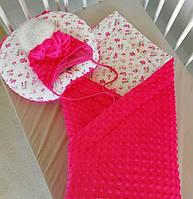 Детское одеяло зимнее минки малиновое, фото 1