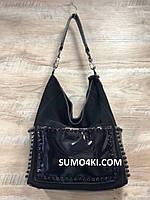 Женская кожаная + замшевая  сумка