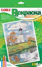 Розфар олівцями по кальці Пейзаж с церковью