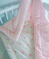 Детское одеяло зимнее минки розовое для девочки, фото 1