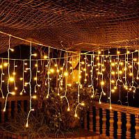 Светодиодная гирлянда бахрома LED 100 лампочек с коннектором: длина 2,3м, золотой цвет