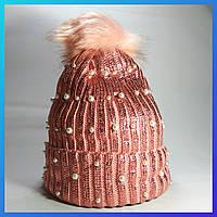 Шапка женская зимняя вязаная на меху розовая (с помпоном)