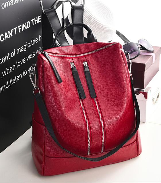 Рюкзак женский кожзам трансформер Braided сумка Красный