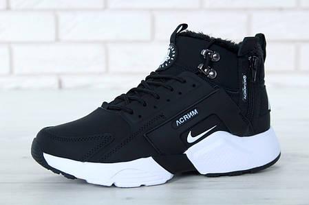 """Зимние кроссовки на меху Nike Huarache Acronym City """"Черные / Белые"""", фото 2"""
