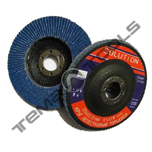 Круг лепестковый 180х22,23 Р60 шлифовальный торцевой (клт) Solution - циркониевый