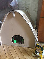 Картонный домик будка для собак, котов и других домашних животных (высота 45 см, ширина 50, длина 55)