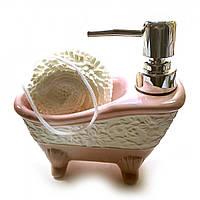 """Диспенсер для мыла с мочалкой """"Ванна"""" розовый"""