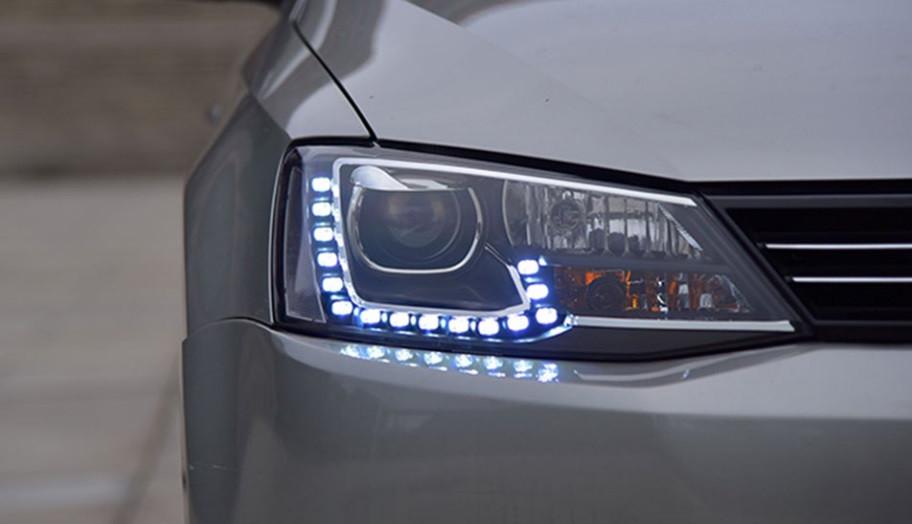 Передние фары VW Jetta 6 тюнинг Led оптика стиль GLI (линза под ксенон)