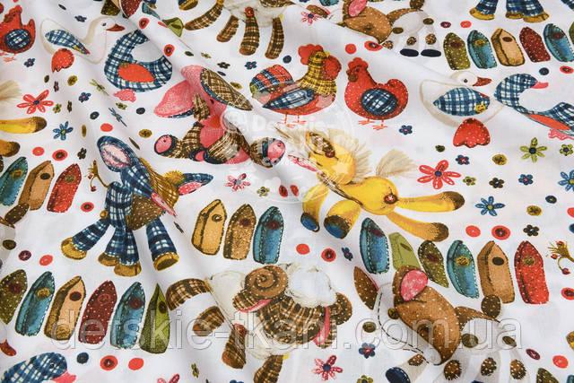 Хлопковая ткань с игрушками из лоскутков