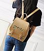 Рюкзак женский кожзам цветы flower Коричневый, фото 2