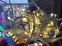 Гирлянда УЛИЧНАЯ  нить(линия) 100 LED 5mm,10 метров,на Белом проводе,тепло-белая, фото 1