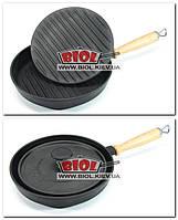 Сковорода-ГРИЛЬ чугунная круглая 240х40мм с деревянной ручкой и прессом 21,5см 2кг ЭКОЛИТ (Украина)