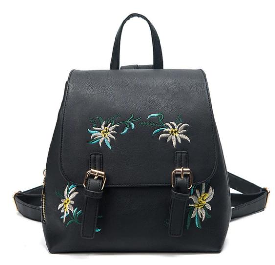 Рюкзак женский кожзам цветы flower Черный