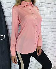 Женская шелковая блузка с длинным рукавом на пуговицах, фото 2