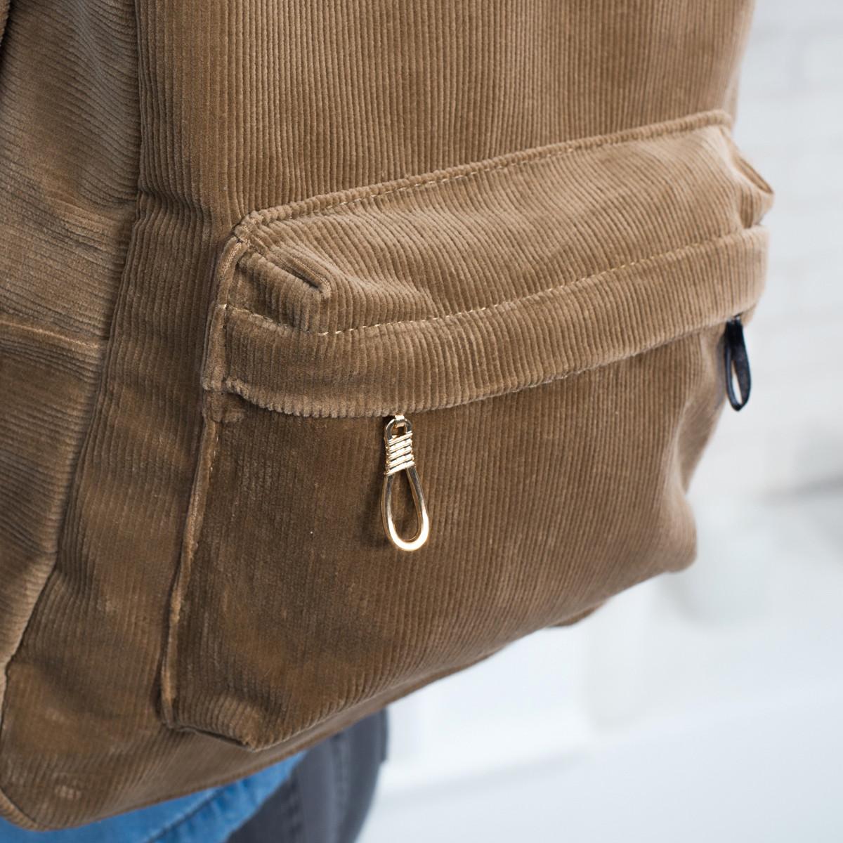 Городской женский вельветовый рюкзак Mayers, песочный, фото 2