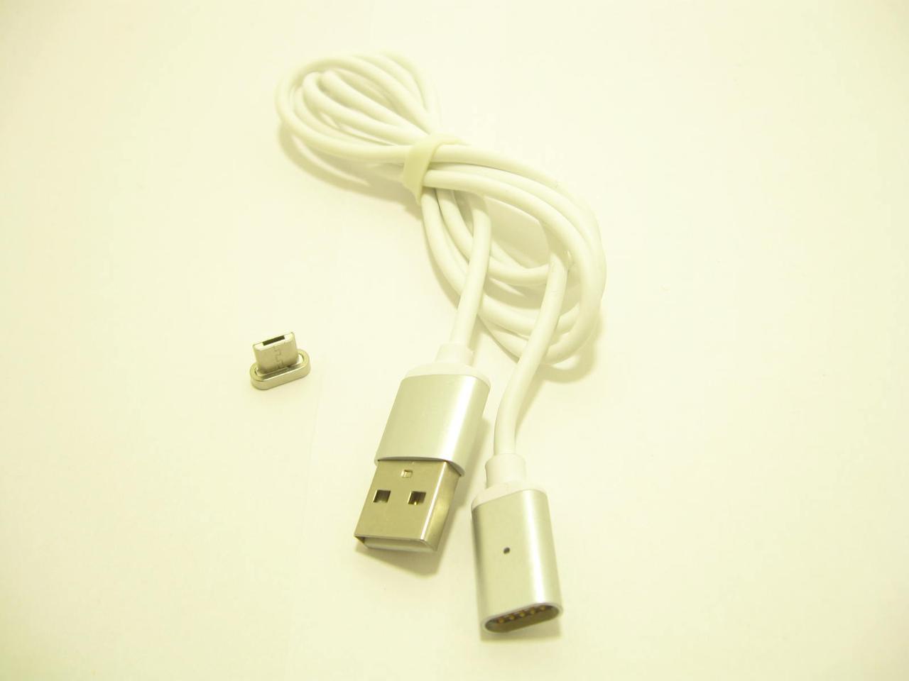 Кабель магнитный USB2.0 AM/B micro-USB 1м, 2А белый