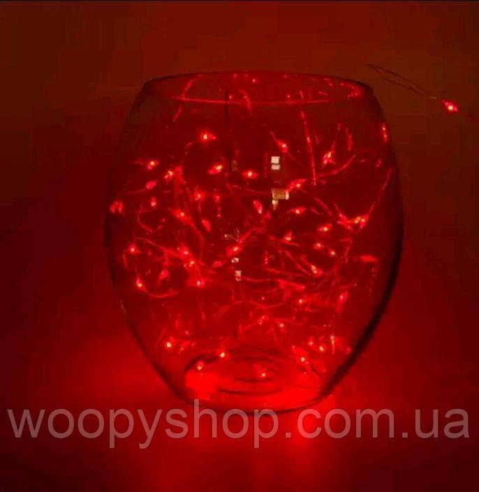 Гирлянда светодиодная проволока 2м красный. Декор