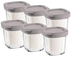 Баночки для йогурта квадратные (6шт.) Tefal коричневая крышечка XF100032