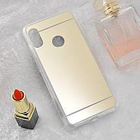 Чехол Xiaomi Mi A2 / Mi 6X силикон зеркальный золотой