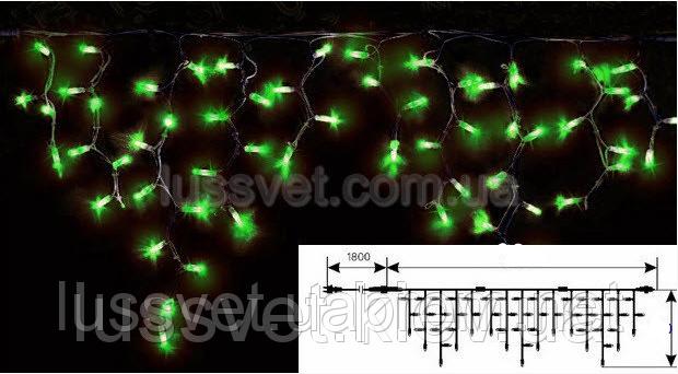 Гирлянда светодиодная бахрома с мерцанием DELUX ICICLE FLASH 108LED 2*1м зеленая (черн. кабель)