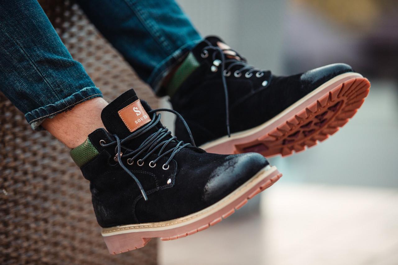 """Зимние ботинки на меху South Forest """"Black"""" (Черные)"""