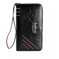 Клатч чоловічий Гаманець портмоне Baellerry Leather 3 W009 Black Чорний