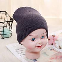 Детская вязанная демисезонная шапка темно-серый