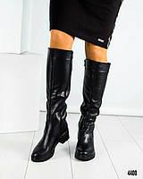 Сапоги женские с жемчужиной на каблуке, фото 1